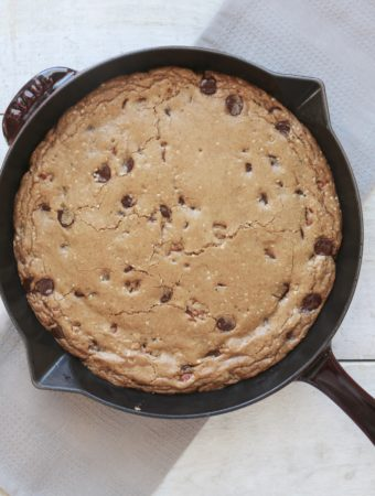 Dark Chocolate and Pecan Skillet Cookie