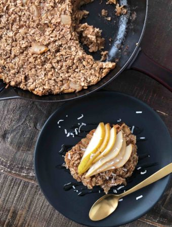 Coconut and Pear Oatmeal Bake